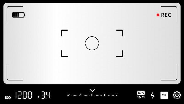 Tela de focagem de câmera moderna com configurações