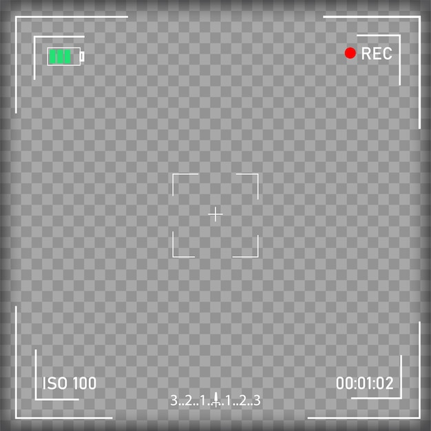 Tela de focalização da câmera de vídeo digital com configurações.