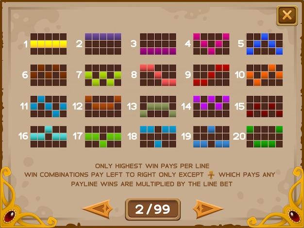 Tela de informações para jogo de slots