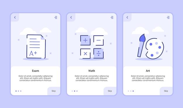 Tela de integração da arte matemática do exame para aplicativos móveis