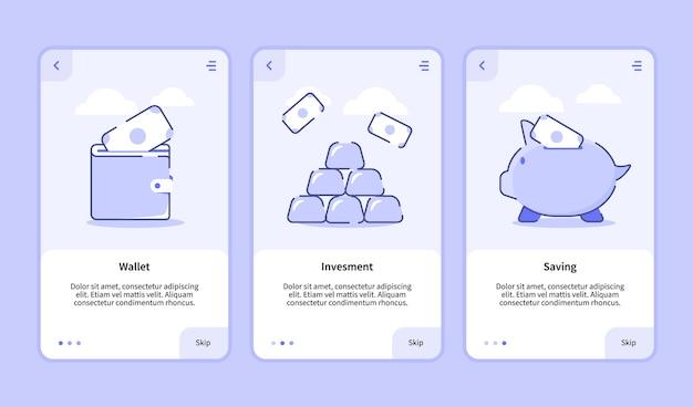 Tela de integração de economia de investimento da carteira para aplicativos móveis