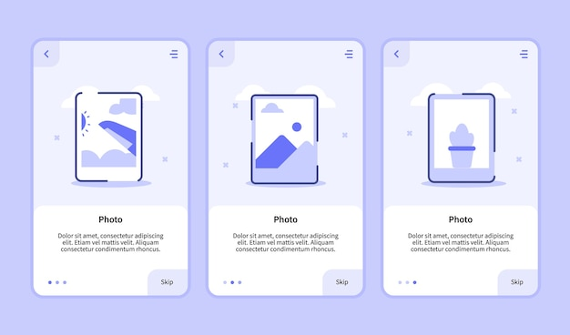Tela de integração de foto para interface de usuário da página de banner do modelo de aplicativos móveis