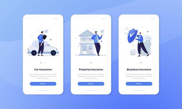 Tela de interface do usuário móvel com conceito de seguro empresarial