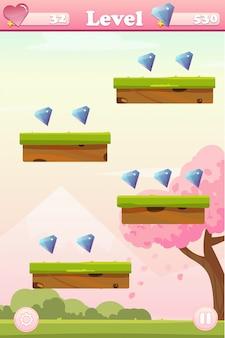 Tela de jogo de primavera com plataformas e pedras preciosas
