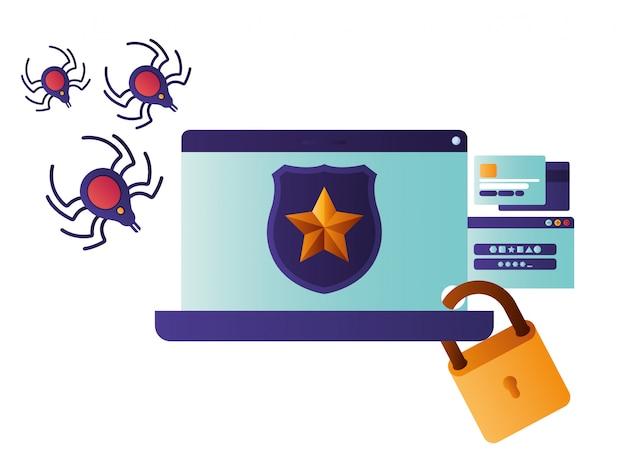Tela de laptop com escudo e ícone de estrela isolado