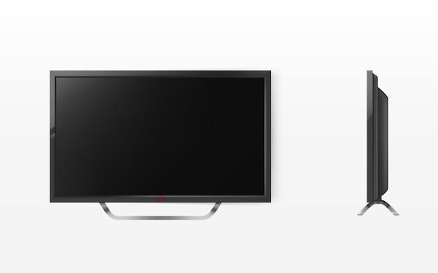 Tela de lcd, mock up de televisão de plasma, sistema de vídeo moderno. tecnologia digital de tv hd.