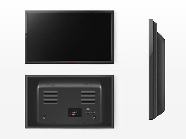 Tela de lcd, mock up de televisão de plasma. vista frontal, traseira e lateral do sistema de vídeo moderno.
