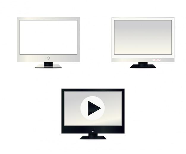 Tela de lcd vazia, monitores de plasma ou tv para o seu monitor ou moldura preta, isolada em um fundo transparente. ilustração.