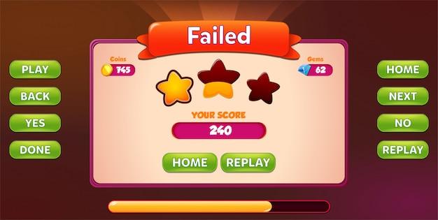 Tela de menu pop-up level failed com estrelas e botão