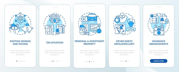 Tela de página de aplicativo móvel abrangente de controle de prosperidade com conceitos. economia, recursos passo a passo 5 etapas de instruções gráficas.
