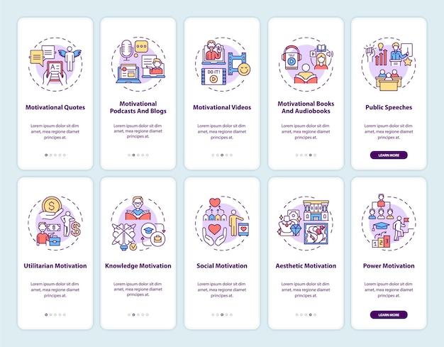 Tela de página de aplicativo móvel de integração de conteúdo motivacional com conjunto de conceitos