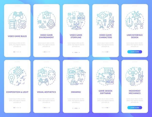 Tela de página de aplicativo móvel de integração de design de videogame com conjunto de conceitos. o processo de criação de videogame segue as etapas e instruções gráficas modelo de iu com ilustrações coloridas rgb