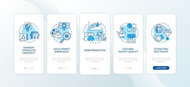 Tela de página de aplicativo móvel de integração de equipe multicultural com conceitos. desenvolvimento eficaz da empresa com instruções gráficas de 5 etapas. modelo de vetor de interface do usuário com ilustrações coloridas rgb