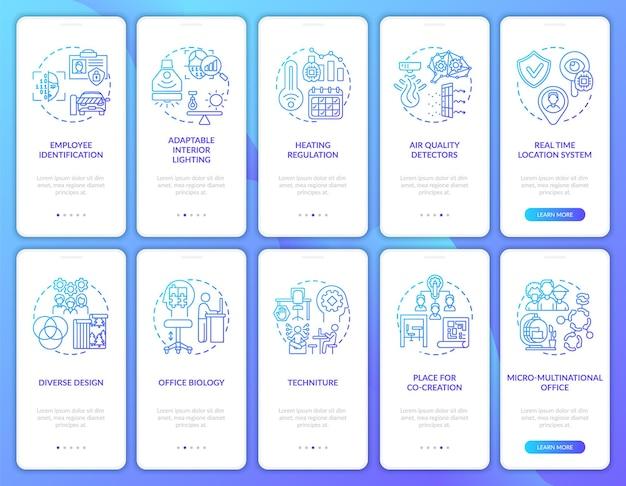 Tela de página de aplicativo móvel de integração de espaço de trabalho inteligente com conjunto de conceitos