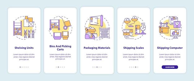 Tela de página de aplicativo móvel de integração de gerenciamento de armazém com ilustrações de conceitos