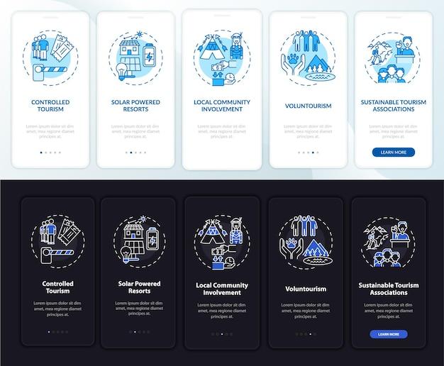 Tela de página de aplicativo móvel de integração de práticas de turismo sustentável com conceitos