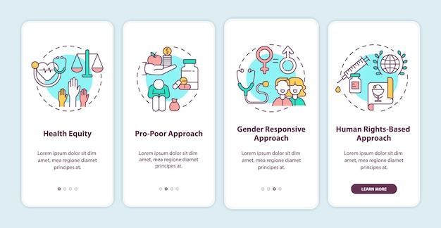 Tela de página de aplicativo móvel de integração de princípios de programas de saúde com ilustração de conceitos