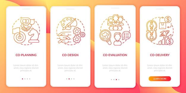 Tela de página de aplicativo móvel de integração de produção colaborativa com conceitos. co-entrega, co-avaliação passo a passo modelo de interface do usuário de 4 etapas com ilustrações coloridas rgb