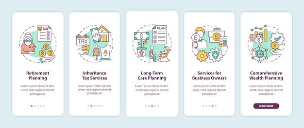 Tela de página de aplicativo móvel de integração de serviços de gerenciamento de patrimônio com conceitos