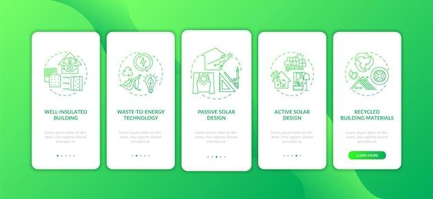 Tela de página de aplicativo móvel de integração verde de arquitetura sustentável com conceitos