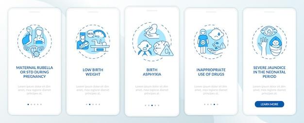 Tela de página de aplicativo móvel herdada de deficiência auditiva com conceitos
