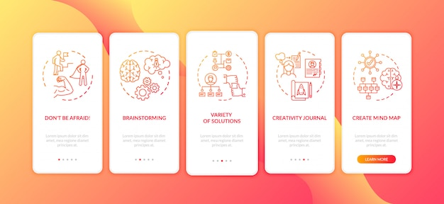 Tela de página de aplicativo móvel onboarding vermelho de desenvolvimento de projeto de negócios com conceitos