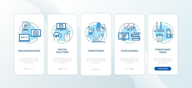 Tela de página do aplicativo móvel de integração de educação e entretenimento em casa com conceitos. descanse e aprenda passo a passo 5 etapas de instruções gráficas. modelo de vetor de interface do usuário com ilustrações coloridas rgb