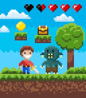 Tela de pixel game, knight hero e geek vector