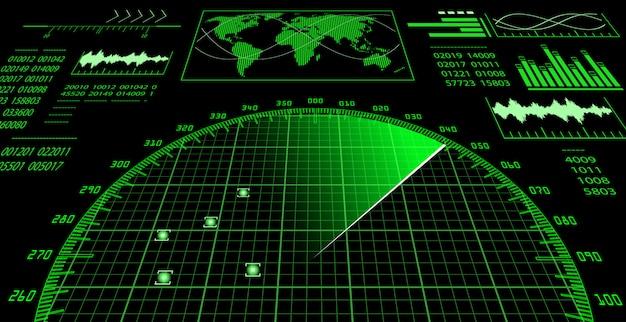 Tela de radar com interface de usuário futurística hud.
