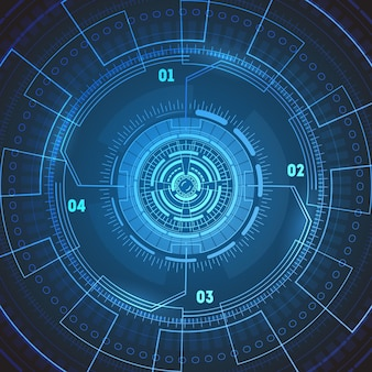 Tela de radar redondo de tecnologia futurista.