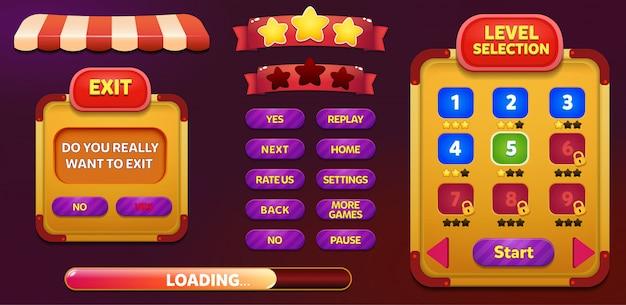 Tela de seleção de nível e menu pop-up de saída com estrelas e botão
