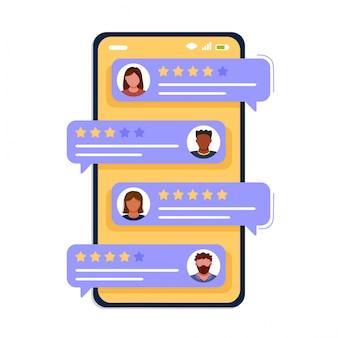 Tela de smartphone com classificações dos clientes