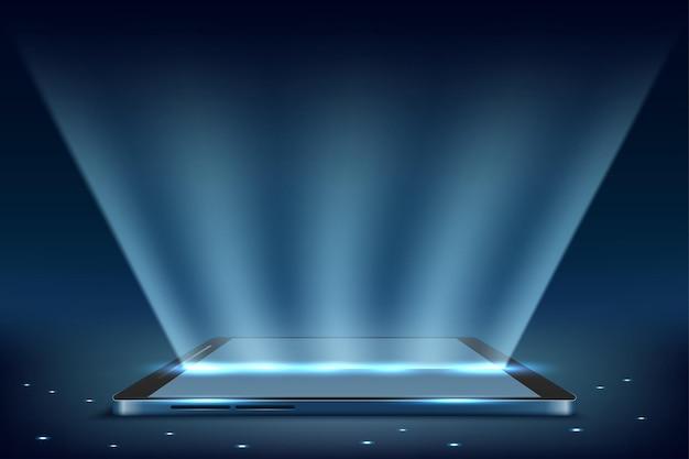 Tela de smartphone para celular com luz de tela de tecnologia para celular