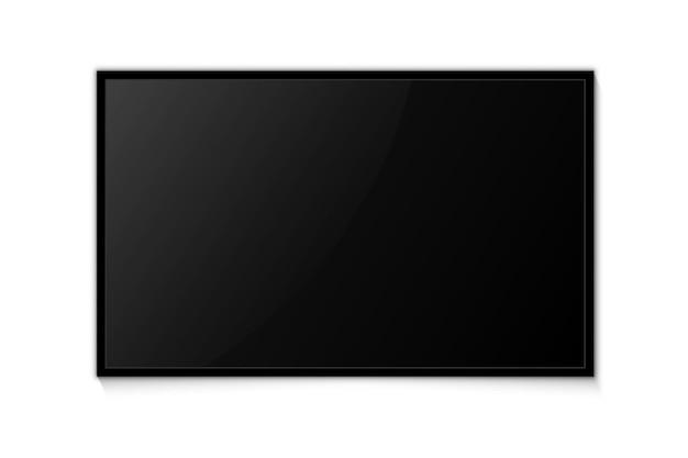 Tela de televisão. tv, tela em branco moderna. tela de tv realista para apresentação com tela vazia. modelo de televisão em branco, painel lcd, maquete de exibição de monitor grande de computador
