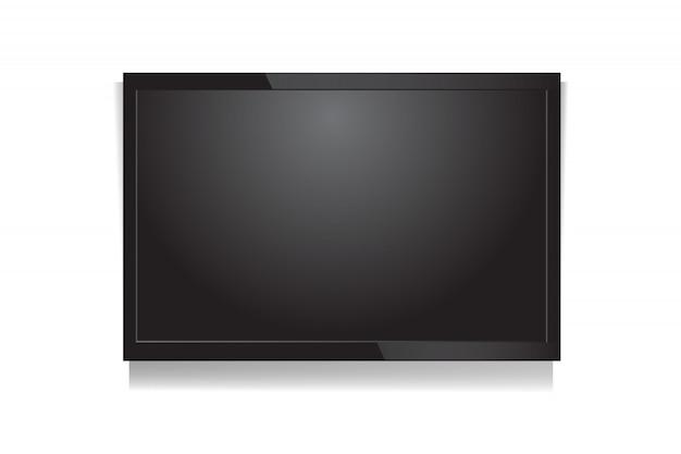 Tela de tv led em branco de vetor realista na parede
