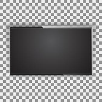 Tela de tv moderna, tipo led, lcd em branco isolado. tela preta do monitor