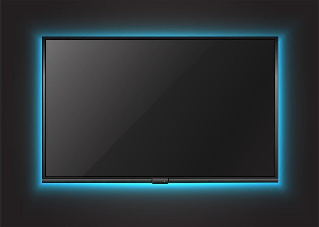 Tela de tv na parede com luz neon