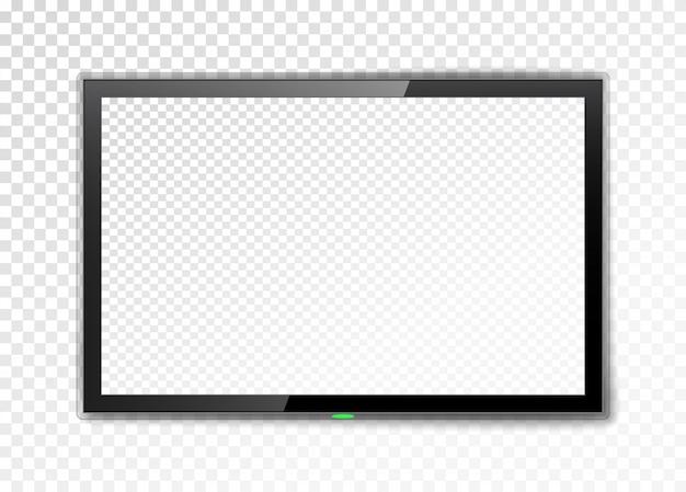 Tela de tv realista. monitor de led vazio isolado.