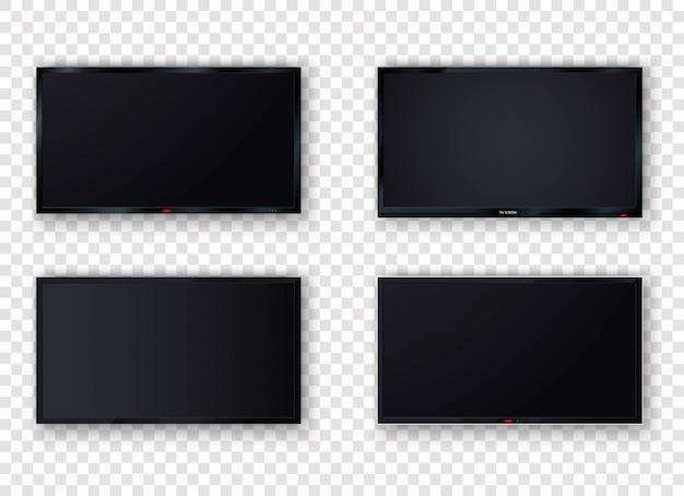 Tela digital moderna da tv lcd em branco, display, painel. plasma de tv isolado em um fundo branco. grande monitor de computador.