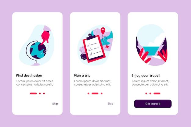 Tela do aplicativo de viagem onboarding