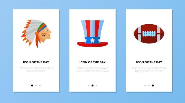 Tela do aplicativo definida com símbolos americanos
