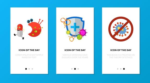Tela do aplicativo definida com símbolos de proteção antibacteriana