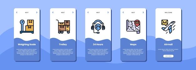 Tela do aplicativo móvel carrinho com balança 24 horas mapas correio aéreo