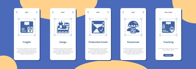 Tela do aplicativo móvel frágil proteção de carga ícone de rastreamento de pára-quedas de e-mail
