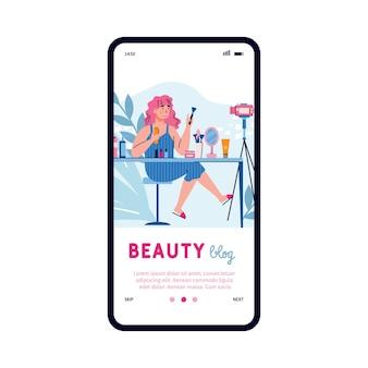 Tela do celular com uma blogueira de beleza feminina, uma ilustração em vetor plana