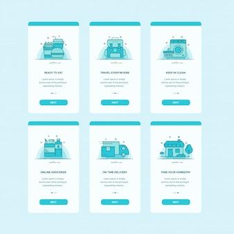 Tela do painel da interface do usuário do aplicativo móvel