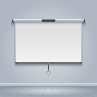 Tela do projetor do quadro branco