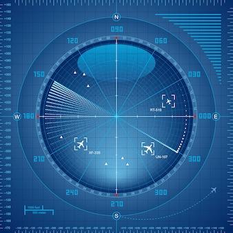 Tela do radar do aeroporto.