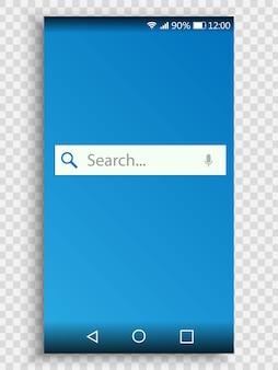 Tela do smartphone com barra de pesquisa, mecanismo de pesquisa