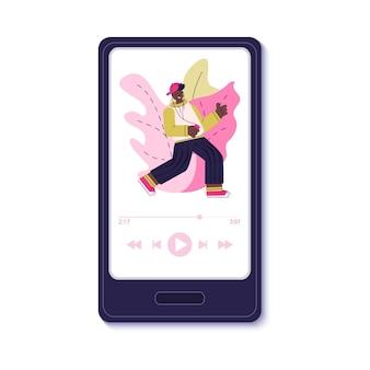 Tela do smartphone com interface de aplicativo de música e adolescente dançando